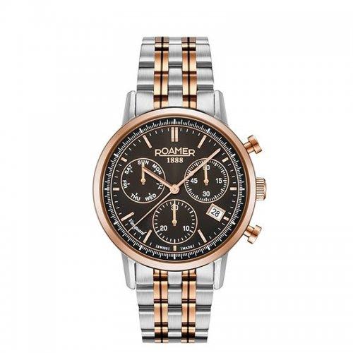 Roamer elegancki zegarek z czarną tarczą