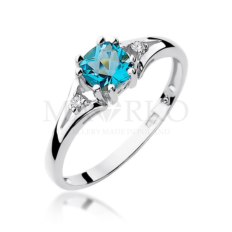 białe złoto i topaz - pierścionek zaręczynowy