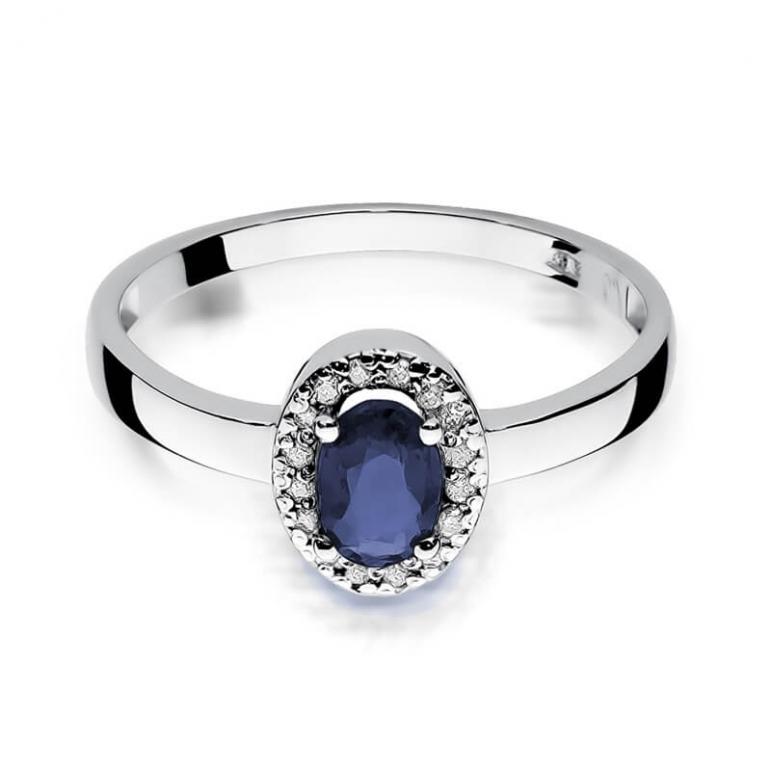 pierścionek z szafirem białe złoto